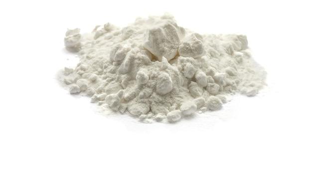 Pile of soda on a white background white  powder