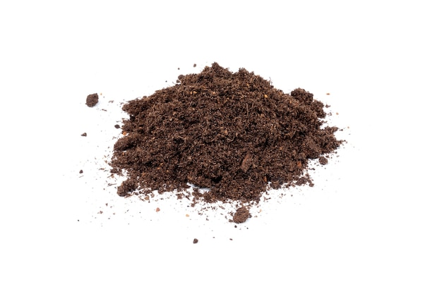 A pile of soil or ground for planting plants. isolated.