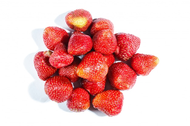 Pile of  strawberry isolated on white background.