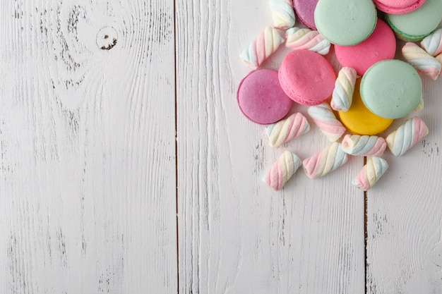 Pile of sweets on white background