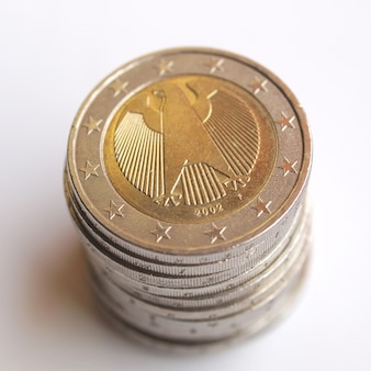 Pile of two euro coins