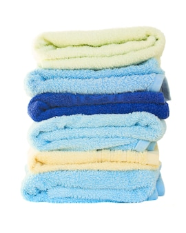 Pile of washed towels isolated