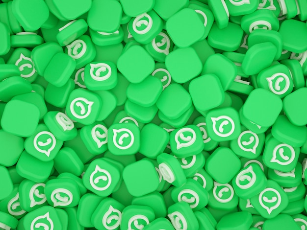 Pile of whatsapp logos 3d background