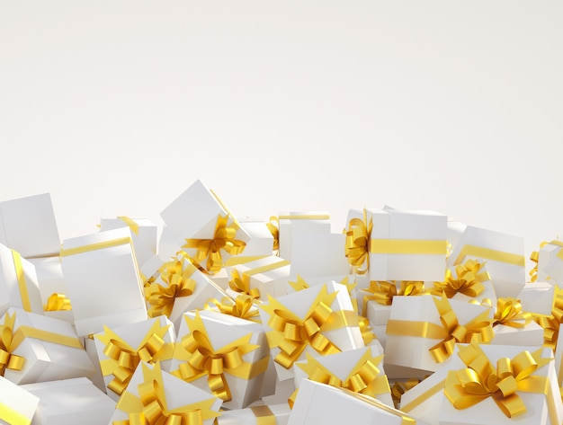 Pile of white gift boxes with golden ribbons on a white background copy space for text