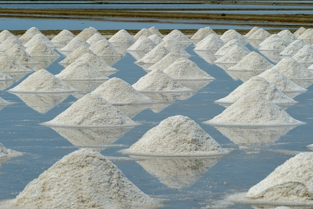 Pile of white salt on the soil in the salt field