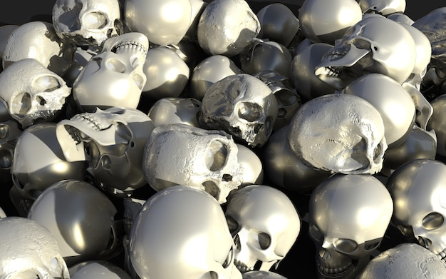 Pile of white and silver glossy skulls, 3d iilustration, 3d render, halloween holiday.