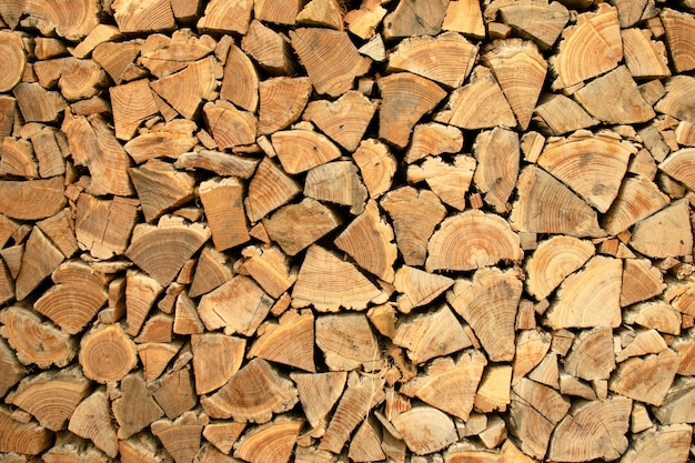 Pile of wood, raw wood for apply firewood as a renewable energy source.
