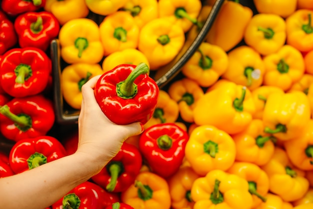Piles of bell peppers organized at the counter of a supermarket or grocery store. green, red, orange and yellow bell peppers for sale.