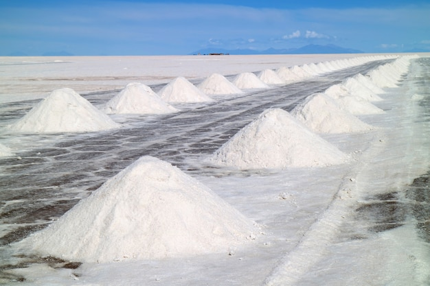 Piles of the drying salt on the uyuni salt flats or salar de uyuni, potosi, bolivia