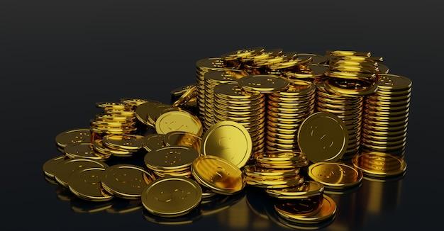 ドル記号の付いた光沢のある金貨の山。