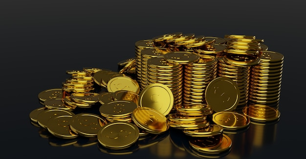 Piles of shiny gold coins with dollar sign.