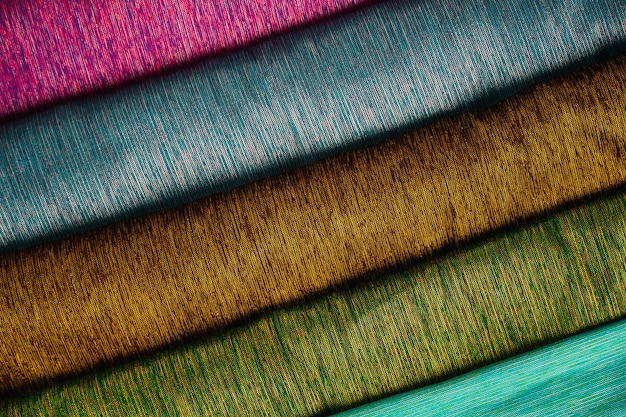 Piles of thai silk in many colors