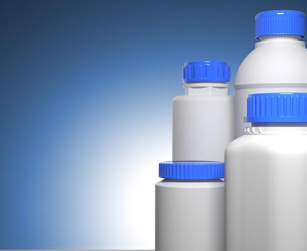 Бутылки таблеток на синем фоне химической или медицинской концепции