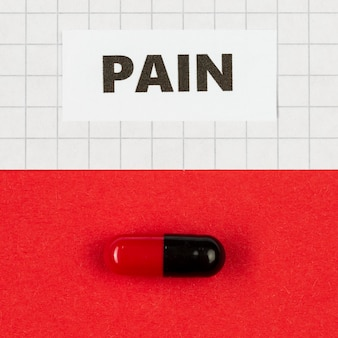 Pill for pain on desk