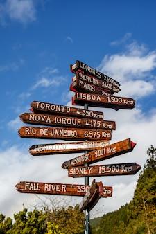 세계의 다른 수도로 향하는 기둥. 포르투갈 아 조레스와의 거리
