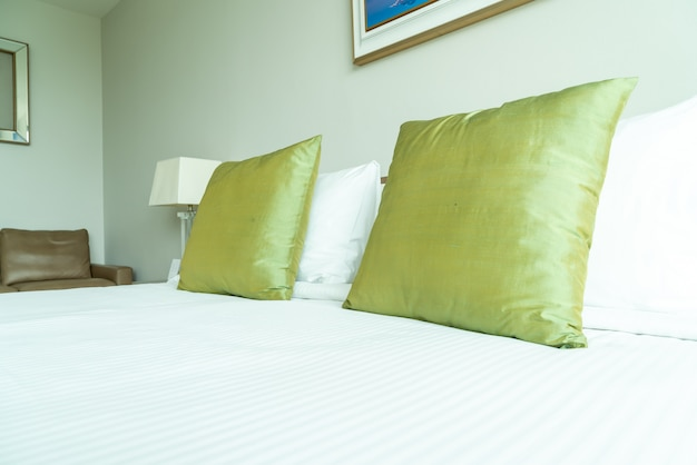 Pillow on bed decoration in bedroom interior