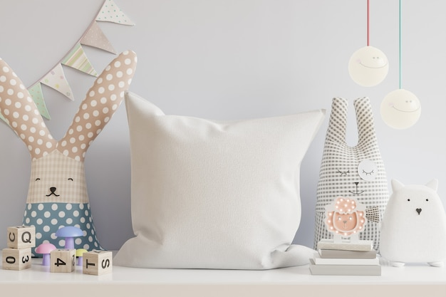 Pillow in the children's room on light blue colors wall background.3d rendering