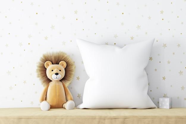 Подушка макет на фоне обоев со звездами