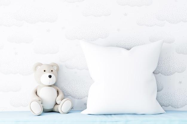 Детский макет подушки и плюшевый мишка