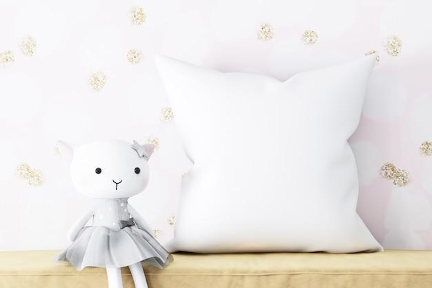 枕のモックアップの赤ちゃんと豪華な子猫