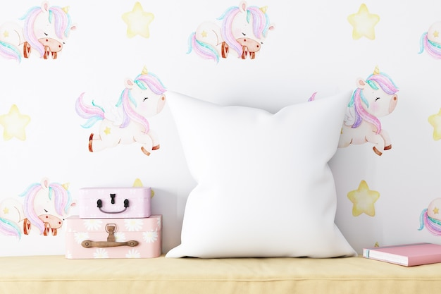 Pillow mockup baby on the background of wallpaper unicorns