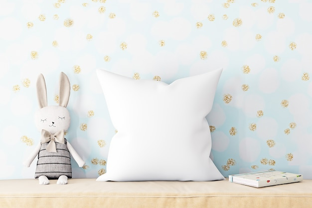 Pillow mockup on blue background with plush hare