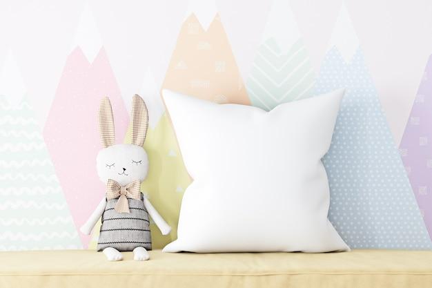 枕モックアップ自由奔放に生きる子供たちと豪華なウサギ