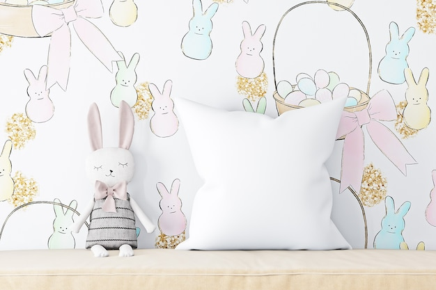 Pillow mockup kids against the background of easter wallpaper
