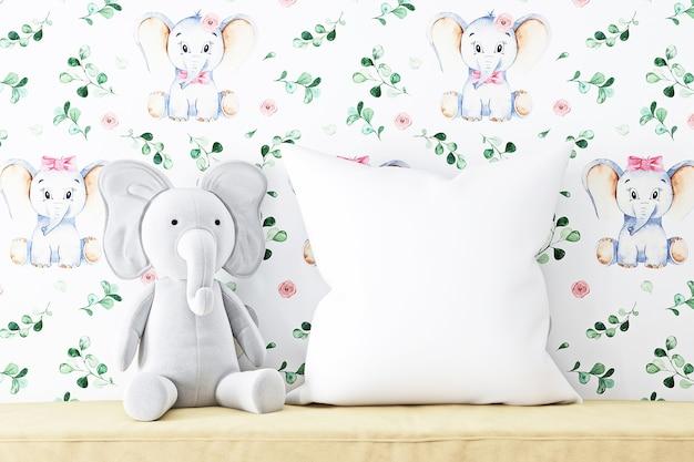 枕モックアップキッズとぬいぐるみ象