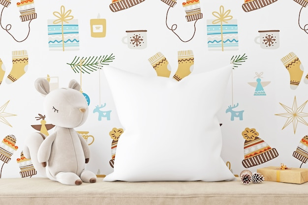Pillow mockup kids with squirrel