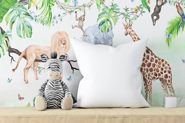 Макет подушки белая и плюшевая зебра