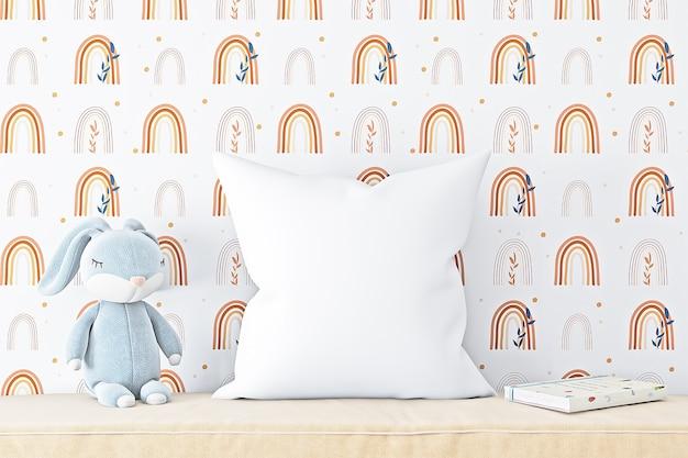 枕のモックアップスタイルの自由奔放に生きる子供たち