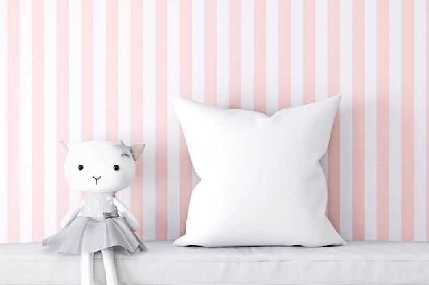 ピンクのスタイルの枕モックアップキッズ