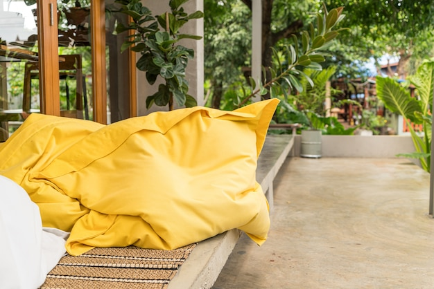 Pillow on outdoor bench