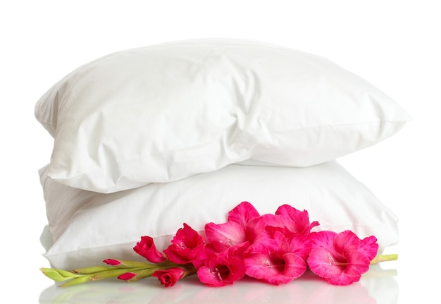 枕と花、白で隔離