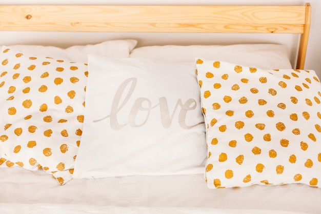 Pillows for the bed, interior design, room design