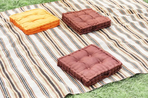 Pillows on a blanket ready for a picnic