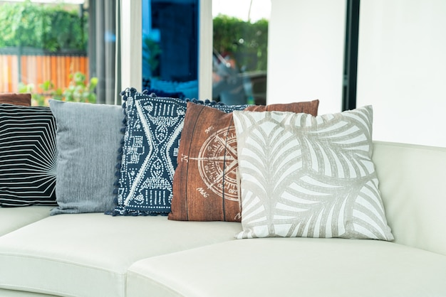 Pillows decoration on sofa in living room