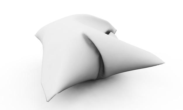 흰색 배경에 고립 된 베개 3d 렌더링