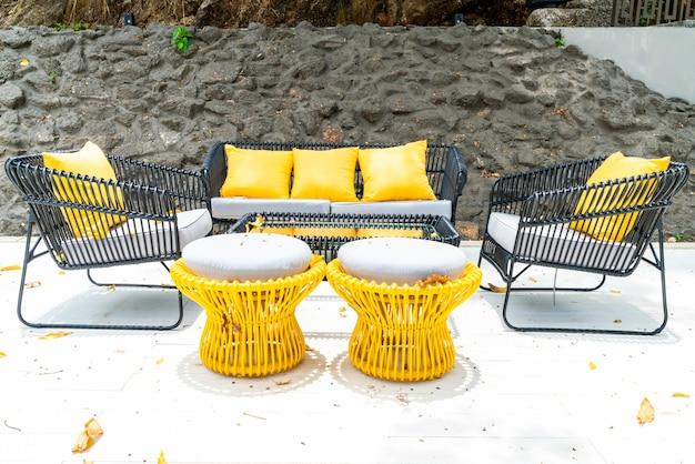 Pillows on sofa in outdoor patio