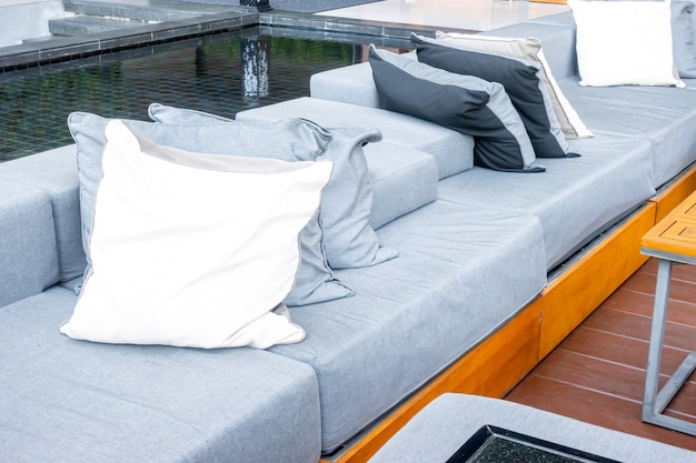 Pillows with outdoor patio deck and sofa