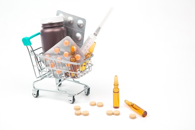 Pills, ampoules and syringe for injection in a market basket on a white background. business and medicine.