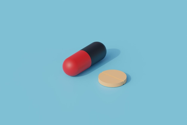 알약과 캡슐 단일 고립 된 개체. 3d 렌더링