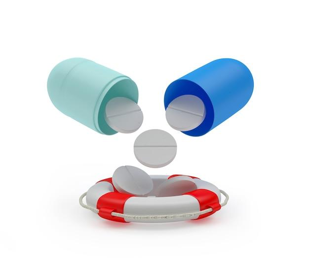 Таблетки переливаются из медицинской капсулы в спасательный круг
