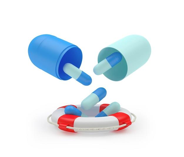 Таблетки падают из медицинской капсулы в спасательный круг