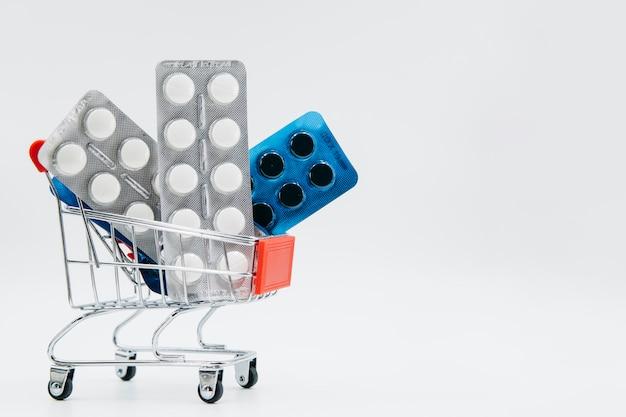 Pills inside shopping cart