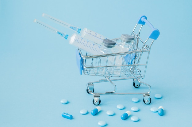 Pills and medical injection in shopping trolley on blue.