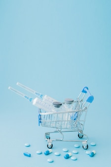 Pills and medical injection in shopping trolley. creative idea for health care cost, drugstore, health insurance and pharmaceutical company business concept. copy space