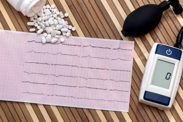 Таблетки на кардиограмме с электронным тонометром, крупным планом