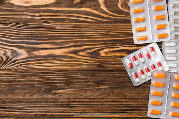 Pills in packages and copyspace